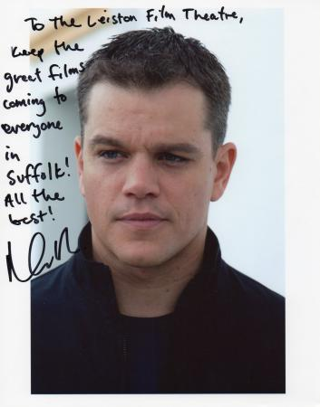 Matt Damon sent this signed message from the set of his latest film. � Leiston Film Theatre.
